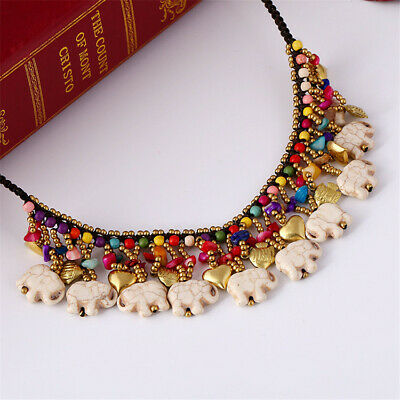 Handmade Bohemia Elephant Turquoise Necklace Jewelry Cultured Gift Classic Coral