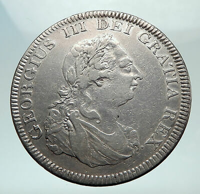1804 UK Great Britain GEORGE III Genuine Antique Silver Bank Dollar Coin i80355