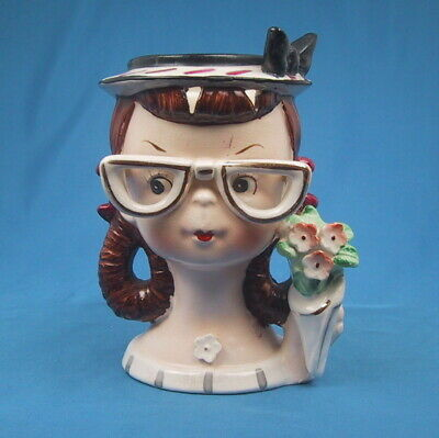 Vintage GIRL TEEN with GLASSES HEAD VASE  Lady Headvase 1950s   *RARE*
