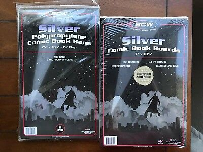 100 New Silver Age Comic Book Bags and Boards - Acid Free - Archival Storage