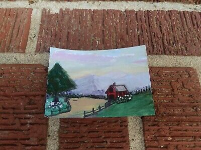 painting RED BARN original ART TRADING CARD signed ACEO LANDSCAPE FARM MOUNTAIN