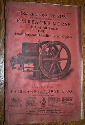 ORIGINAL 1913 Fairbanks Morse Hit Miss Engine Type H Catalog # 2158J 10T Edition