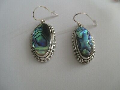 Pau Shell Earrings (oval)..STERLING SILVER..Nice Size..Great Color..New