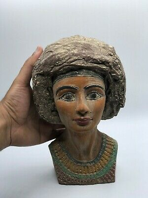 RARE EGYPTIAN ANTIQUES ANCIENT EGYPT Statue NEFERTIT QUEEN Head 4.kg Stone BC