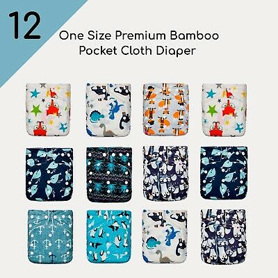 Package! KaWaii Baby Premium Bamboo Pack of 12 Diapers 24 Bamboo Inserts 8-36lbs