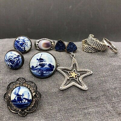 Lot Sterling Silver Delft Blue Druzy Tiffany Somerset Earrings Peretti Ruby Ring
