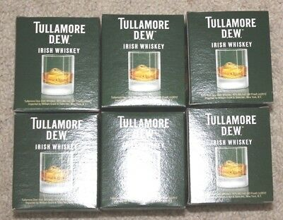 set of 6 Tullamore Dew Irish Whiskey Glasses for your Bar, Man Cave Collection