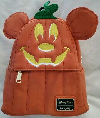 Disney Parks Mickey Halloween Pumkin Loungefly Mini Backpack Purse NEW with Tags