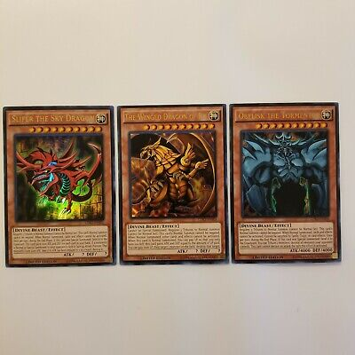 Yugioh 3 Egyptian God Cards - Obelisk Ra Slifer LKD2 Ultra Rare Limited NM/M