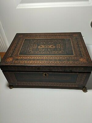 Unusual 1850's Antique Tunbridge Ware Inlaid Sewing Box with Mirror