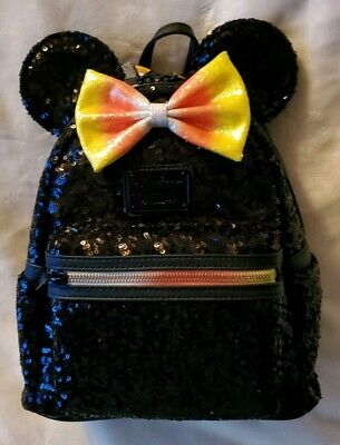 Disney Parks Mickey Halloween Sequined Candy Corn Loungefly Mini Backpack NWT