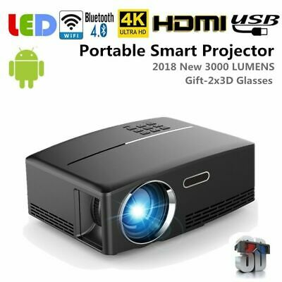 Mini Portable 3000Lumen Android Wifi 3D LED 4K HD 1080p Smart Projector HDMI USB