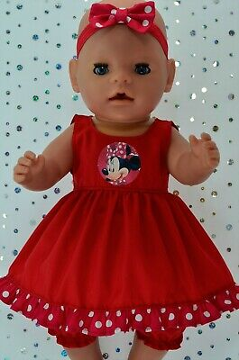 """Play n Wear Dolls Clothes To Fit 17"""" Baby Born  RED DRESS~BLOOMERS~HEADBAND"""