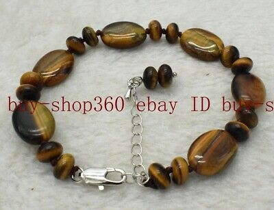 Natural 5x8mm Abacus 13x18mm Oval Yellow Tigers Eye Gemstone Bracelet 7.5'' AAA