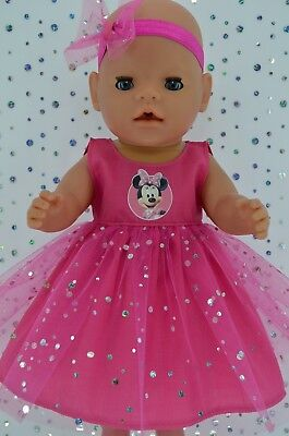 """Play n Wear Dolls Clothes To Fit 17"""" Baby Born HOT PINK SEQUIN DRESS~HEADBAND"""