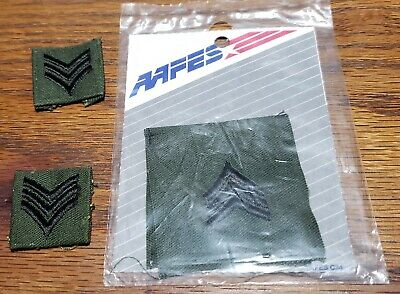 Sergeant E-5 (SGT) OD Green/Black Rank Patch Vietnam War US ARMY Military #H5