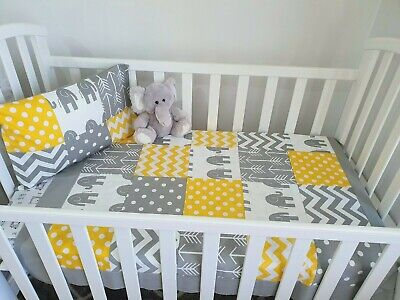 New Unisex yellow & Grey  Elephant patchwork Cot Quilt + toddler pillowcase set