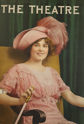 1911 Original Vintage Theatre Miss Hazel Dawn Color Portrait Illustration