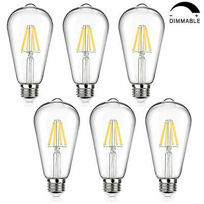 LED Edison Bulb Dimmable, 60W Equivalent 800Lumens, Daylight White 4000K, 6-Pack