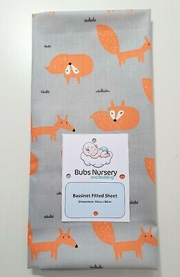 New Cotton Bassinet fitted sheet - Orange Foxes on light grey