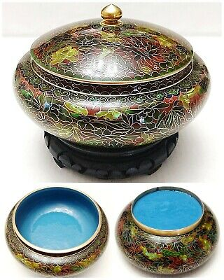 3 Pcs Vintage Chinese LARGE Brown Cloisonne Enamel Covered Bowl Flowers w/Stand