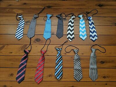 New Boys Toddler Infant Elastic Pre Tied Neck Ties Various Colours Polyester