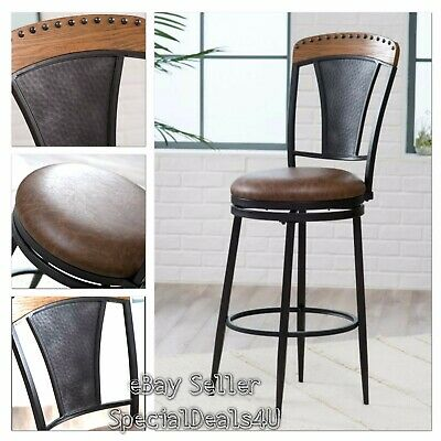 Leather Swivel Bar Stool Industrial Wood Metal Vintage Modern Pub Chair Antique