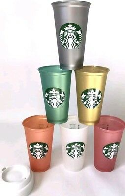 2018 Starbucks Limited Christmas Irridescent Reusable Hot/Cold Cup 16 oz - 6 Pk