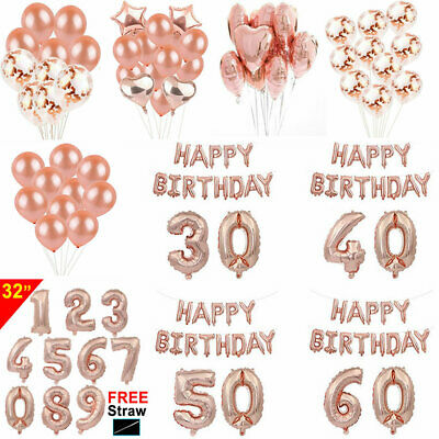 Personalised Age Rose Gold Balloon Giant Happy Birthday Party Number Balloons