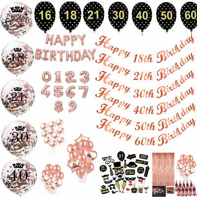 Rose Gold Happy Birthday Banner Balloons 18/21st/30/40/50/60th Birthday Party