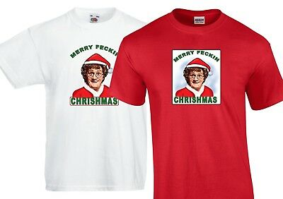 Red Merry Feckin Christmas T-Shirt Mrs Browns boys-Adults /& Kids Sizes