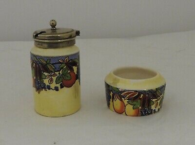 Lancaster EPNS lidded mustard pot and small pot, decorated English pottery