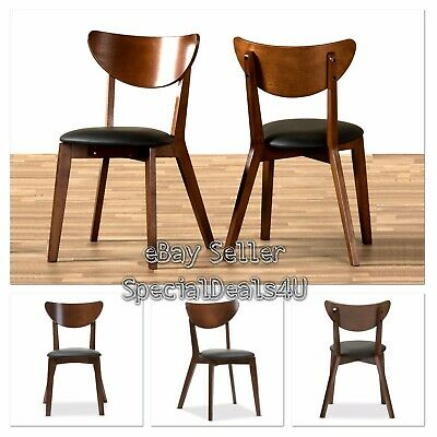 Modern Wood Chair Vintage Dining Set of 2 Mid-Century Leather Seat Wooden Walnut