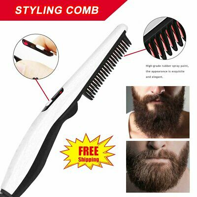 Men Quick Hair Styling Comb Electric Heating Hair Straightener Brush Beard EA