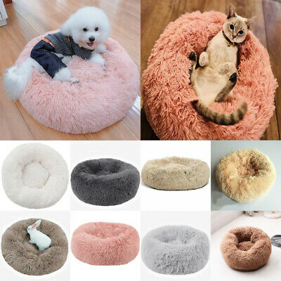UK Pet Dog Cat Calming Bed Warm Soft Plush Round Nest Comfy Sleeping Kennel Cave