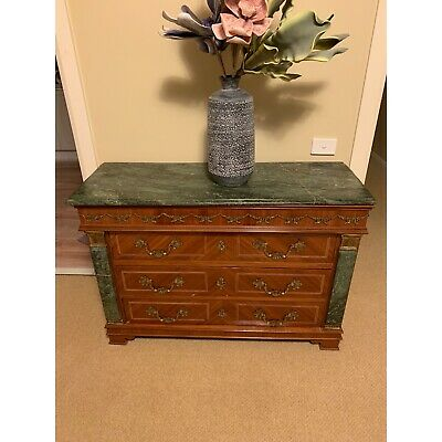 Antique Marble top ornate chest of drawers