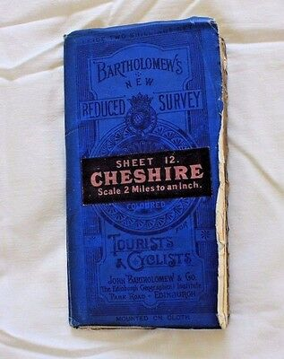 VINTAGE Bartholomew's Survey Map for Tourists & Cyclists, Cheshire