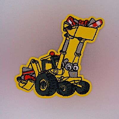 Friendly Excavator Patch — Iron On Badge Embroidered Motif — Kids Dump Truck