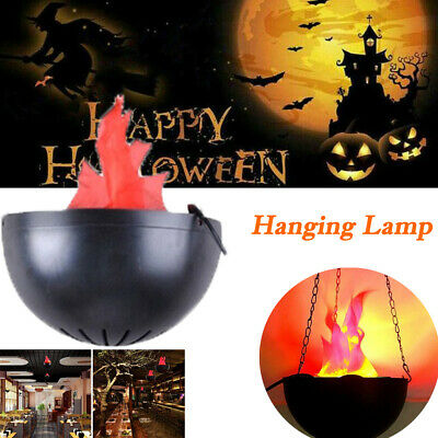 LED Hanging Lamp FAKE FLAME LAMPS Torch Light Fire Pot Halloween Prop Decoration