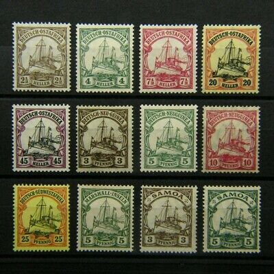 GERMAN COLONIES, Mint Selection, EAST AFRICA/ NEW GUINEA/ SAMOA/ SW AFRICA (12).