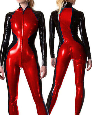 Latex Rubber Gummi Catsuit Ganzanzug Zipper Racing Suit Overall Bodysuit S-XXL