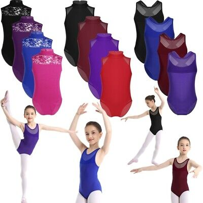 Girls Kids Gymnastics Ballet Dance Leotards Workout Sport Sleeveless Bodysuit