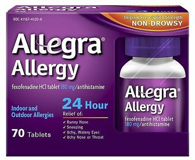 Allegra Adult 24 Hour Allergy Tablets 180mg 70 Count, 2 bottles