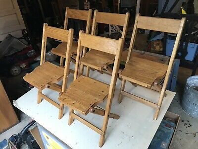 5 Rare Old Industrial Oak Hardwood Folding Child Size Wood Wooden Chairs