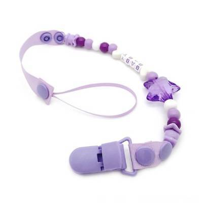 Infant Baby Letter Beads Pacifier Chain Holder Nipple Clip Teether Dummy