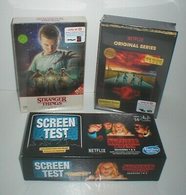 STRANGER THINGS Lot Season 1 & 2 Collector's Edition DVD Set + Screen Test Game
