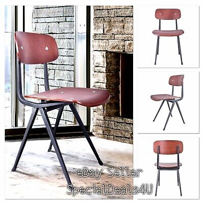 Industrial Dining Chair Wood Metal Seat Set of 2 Vintage Design Home Office Side