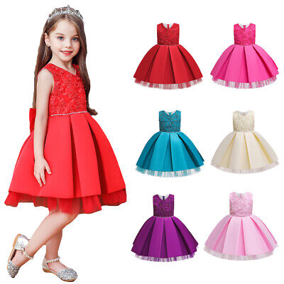 Toddler Kid Girls Beads Bridesmaid Dress Pageant Princess Ball Gown Tutu Dresses