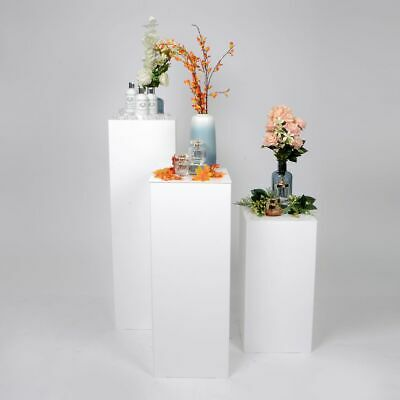 Set of 3 Large Product Display Plinth - Pedestals   Gloss White    Made in UK