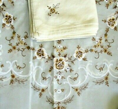 Vintage Tablecloth Napkin Set Sheer Ivory Embroidered Flowers